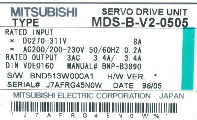 Mitsubishi MDS-B-V2-0505 label image