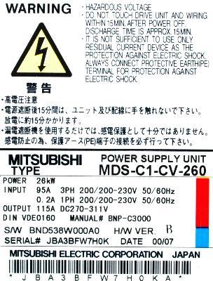 Mitsubishi MDS-C1-CV-260 label image