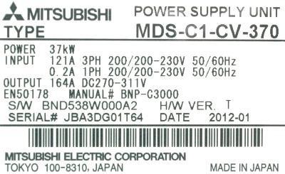 Mitsubishi MDS-C1-CV-370 label image