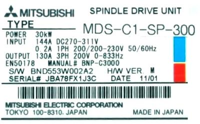 Mitsubishi MDS-C1-SP-300 label image