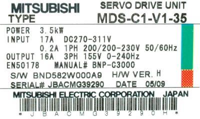 Mitsubishi MDS-C1-V1-35 label image