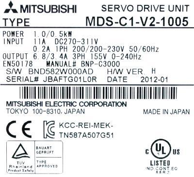 Mitsubishi MDS-C1-V2-1005 label image