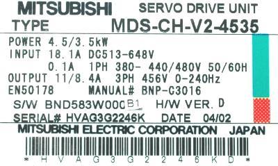 Mitsubishi MDS-CH-V2-4535 label image