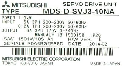 Mitsubishi MDS-D-SVJ3-10NA label image
