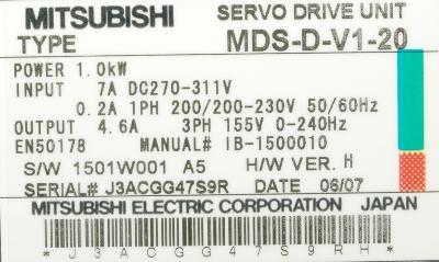 Mitsubishi MDS-D-V1-20 label image