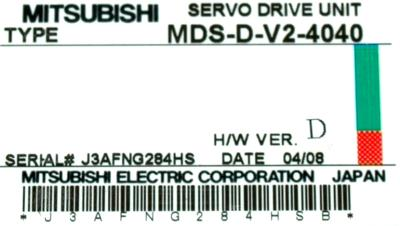 Mitsubishi MDS-D-V2-4040 label image