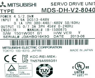 Mitsubishi MDS-DH-V2-8040 label image