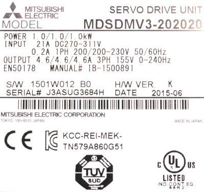 Mitsubishi MDS-DM-V3-202020 label image