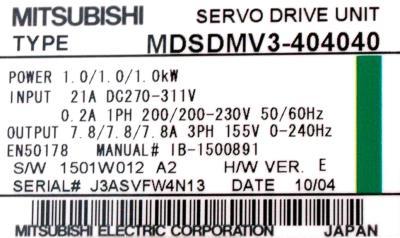 Mitsubishi MDS-DM-V3-404040 label image