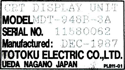 Totoku Electric MDT-948B-3A label image