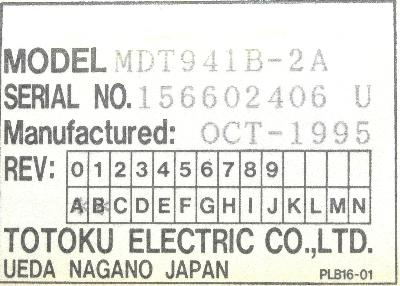 Totoku Electric MDT941B-2A label image