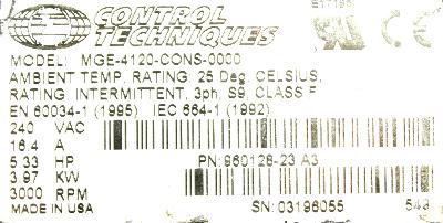 Emerson MGE-4120-CONS-0000 Motors-AC Servo