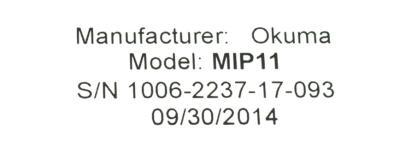 Okuma MIP11 D-11 label image