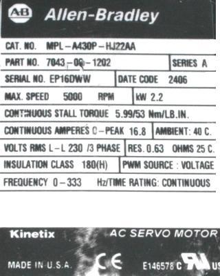Cnc Servo Motors Allen Bradley Mpl B430p Hk22aa Motors
