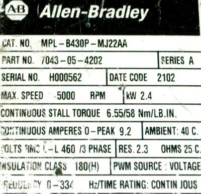 Allen-Bradley MPL-B430P-MJ22AA Motors-AC Servo