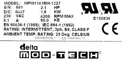 Delta Mod-Tech MPM1141RM-1227 Motors-AC Servo