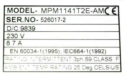 PARKER MPM1141T2E-AM Motors-AC Servo