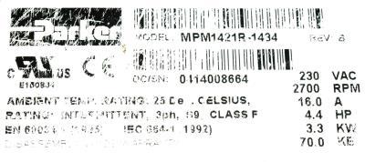 PARKER MPM1421R-1434 Motors-AC Servo