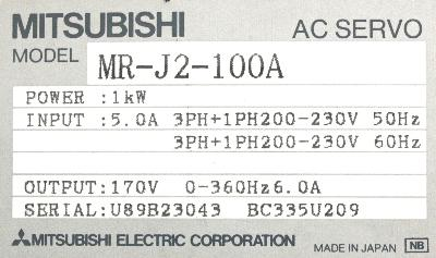 Mitsubishi MR-J2-100A label image