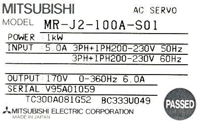 Mitsubishi MR-J2-100A-S01 label image