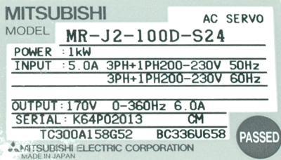 Mitsubishi MR-J2-100D-S24 label image