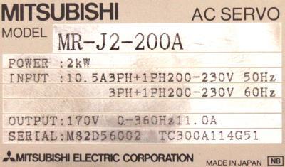 Mitsubishi MR-J2-200A label image