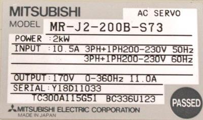 Mitsubishi MR-J2-200B-S73 label image