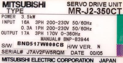 Mitsubishi MR-J2-350CT label image