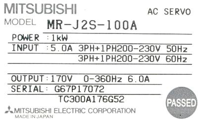 Mitsubishi MR-J2S-100A label image