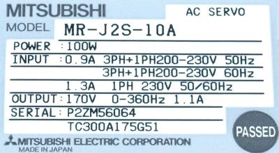 Mitsubishi MR-J2S-10A label image