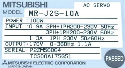 Mitsubishi MR-J2S-10A label image