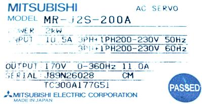 Mitsubishi MR-J2S-200A label image