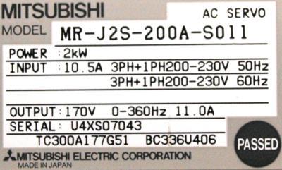 Mitsubishi MR-J2S-200A-S011 label image