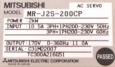 Mitsubishi MR-J2S-200CP label image
