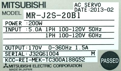 Mitsubishi MR-J2S-20B1 label image