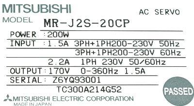 Mitsubishi MR-J2S-20CP label image