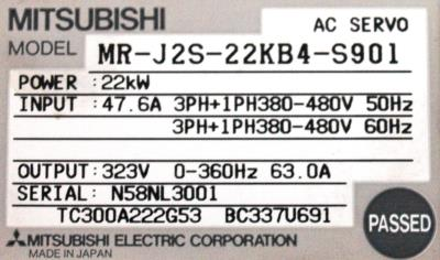 Mitsubishi MR-J2S-22KB4-S901 label image