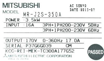 Mitsubishi MR-J2S-350A label image