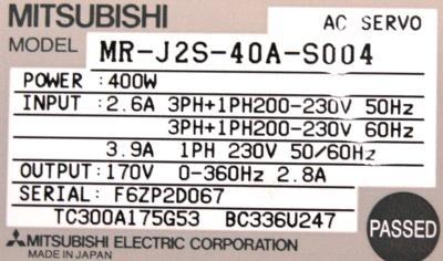 Mitsubishi MR-J2S-40A-S004 label image