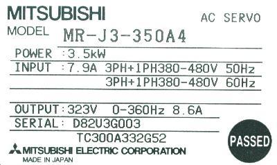 Mitsubishi MR-J3-350A4 label image