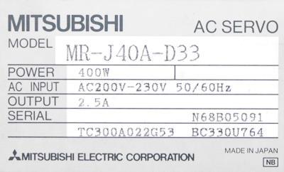 Mitsubishi MR-J40A-D33 label image