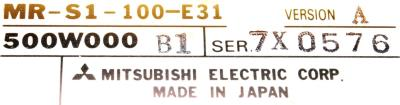 Mitsubishi MR-S1-100-E31 label image