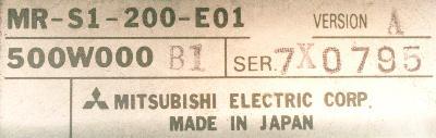 Mitsubishi MR-S1-200-E01 label image