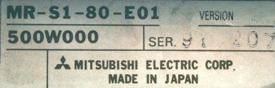 Mitsubishi MR-S1-80-E01 label image