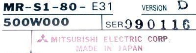 Mitsubishi MR-S1-80-E31 label image