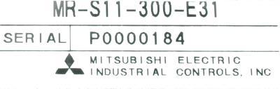 Mitsubishi MR-S11-300-E31 label image