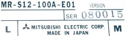 Mitsubishi MR-S12-100A-E01 label image