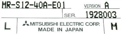 Mitsubishi MR-S12-40A-E01 label image