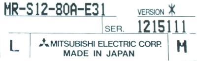 Mitsubishi MR-S12-80A-E31 label image
