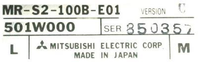 Mitsubishi MR-S2-100B-E01 label image
